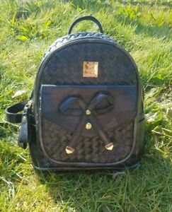 Cute Navy Blue Woven Leather Backpack Gold Ribbon Detail JHD