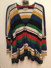VINTAGE MISSONI WOMENS MULTI COLOR STRIPED OVERSIZE CARDIGAN  M/L