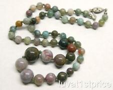 """Multi Color Jasper Graduated 6.3-12.4mm Beaded Handknotted Strand 18"""" Necklace"""