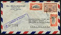 BOLIVIA JUDAICA to USA registered air cover 1959