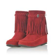 Womens Tassel High Top Casual Fringe Moccasin Boots Flat Round Toe Ankle Shoes