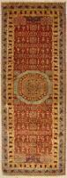 Rugstc 2.5x8 Senneh Chobi  Orange Runner Rug,Natural dye,Hand-Knotted,Wool