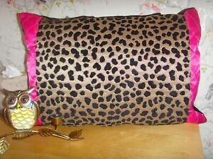 MADE in GOLD BLACK LEOPARD ANIMAL PRINT  BOLSTER  CUSHION & PAD 20in x 14in