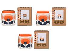 3 X Orla Kiely 70s Oval Flower Orange Storage Jars 1 Litre New & Boxed Free P&P