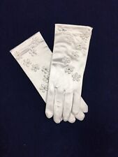 White Satin Flower Glove  Ideal Holy Communion, Bridesmaid/Flower Girl BN