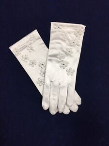 White Satin Flower Glove  Ideal Holy Communion, Bridesmaid/Flower Girl BN