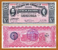 Mexico, Estado De Chihuahua 5 Pesos 1915 Series M Pick-S532A Crisp UNC