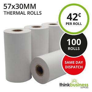 100 x Premium 57x30mm Thermal Paper EFTPOS Rolls for Tyro Xentissimo Yoximo
