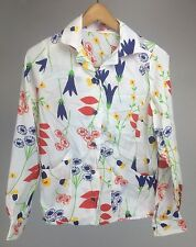Vintage 70's Long sleeve lightweight White Multicolored floral print Blouse Sz M