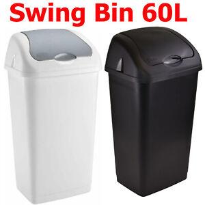 Heidrun Plastic Swing Top Bin Waste 60L Rubbish Dust Home Kitchen Office