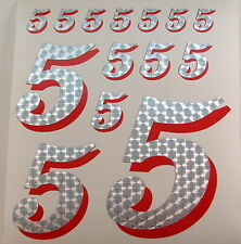 Racing Numbers Number 5 Decal Sticker Pack Silver Red 1/8 1/10 RC models S03