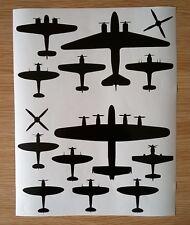 WW2 RAF Lancaster Hurricane Dakota etc Silhouette Shape Stickers A4 Sheet Black
