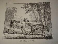 Carle VERNET (1758-1836) Litho ORIGINALE FABLE LA FONTAINE LOUP & CHIEN 1820