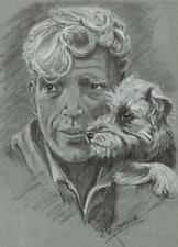 GENTLEMAN WITH DOG PORTRAIT Pastel Drawing E PRITCHARD c1970