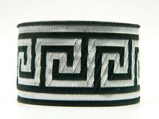 1m Jacquard Borte/Webband Griechischer Schlüssel 50mm Breit Schwarz/Silber