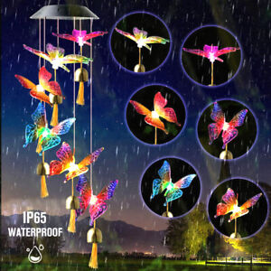 Hanging Wind Chime Bell Solar Powered LED Light Colour Changing Garden Outdoor