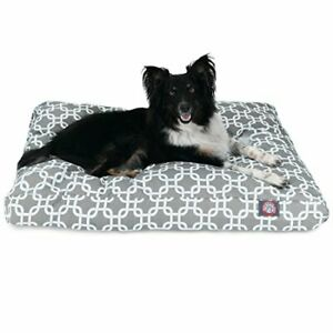 Gray Links Medium Rectangle Indoor Outdoor Pet Dog Bed With Removable Washabl...