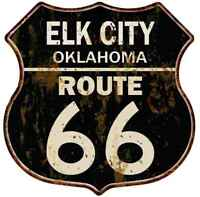ELK CITY, OKLAHOMA Route 66 Shield Metal Sign Man Cave Garage 211110014217