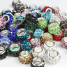 Lots Czech Crystal Clay Silver Big Hole Spacer Charm Beads for European Bracelet