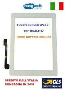 TOUCH SCREEN Apple iPad 3 A1403 A1430 A1416 3G - WIFI VETRO + TASTO HOME BIANCO