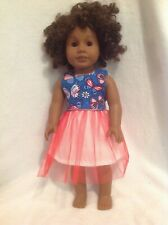 "Fit 18"" American Girl doll summer 4th of July butterfly dress clothes outfit"