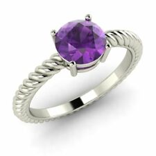 1.40 Ct Natural Amethyst Solid 18k White Gold Solitaire Twisted Engagement Ring