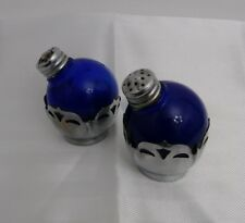 Vintage Cobalt Blue Glass Salt and Pepper Shakers Silver Ornament Style