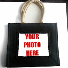 CUSTOM PERSONALISED PHOTO OR LOGO JUTE SHOPPING BAG GIFT