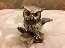 Homco Owl #1114 Porcelain Barn Owl on Branch Figure Figurine Home Decor