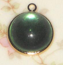 #561Q Vintage Pendant Aqua Marine Glass Art Deco Nouveau NOS Artsy Gold Plated