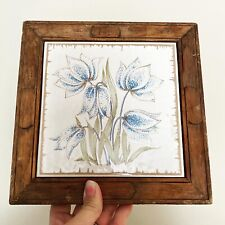 Siena Ceramital Buonconvento Blue Floral Ceramic Tile Trivet Wood Frame Italy