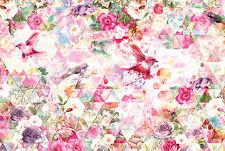 Flower & birds design non-woven wall mural wallpaper for bedroon living room HQ
