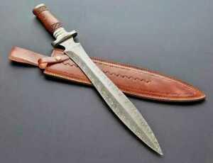 CUSTOM HANDE MADE DAMASCUS STEEL SWORD WITH ROSE WOOD HANDLE & LEATHER SHEATH