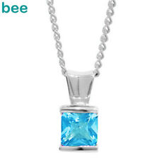 New Natural Blue Topaz 9ct 9k Solid White Gold Pendant W63499/BT