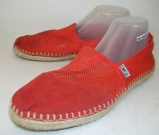 Toms Wos Shoes Flats 451114 US 10 Red Perforated Suede Slip-On Espadrilles  4233