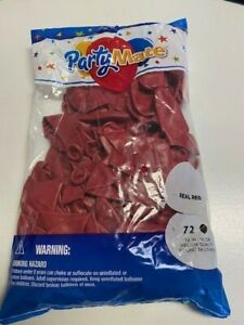 """PartyMate Real Red 72ct Bag of 12"""" Latex Balloons New!!!"""