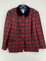 Vintage Pendleton 100% Wool Soft Red Plaid Button Up Suit Jacket Women's 18W