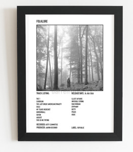 Taylor Swift Poster Folklore Album Art Polaroid Style Pop Music Poster A3 / A4