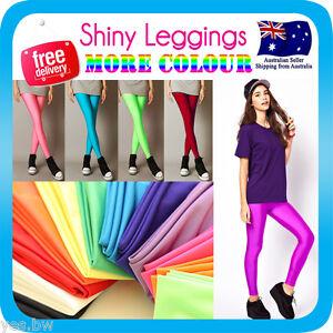 Shiny Neon Leggings Metallic Stretch Skinny Pants for Dress Costume Dance
