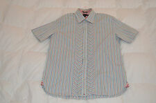 Authentic Tommy Hilfiger 80's 2 Ply Fabric Stripe Short Sleeve Shirt Blue Mens L