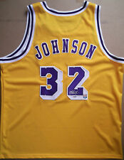 MAGIC JOHNSON Signed Los Angeles Lakers Gold Home Jersey HOF PSA/DNA