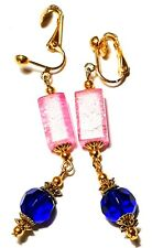 Earrings Drop Dangle Crackle Glass Beads Large Long Gold Blue Pink Clip-On