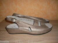 Damenschuh Goldkrone Sandalette NEU Gr. 8 42 H in bronze & Perlato Leder