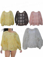 Womens Batwing Style Tropical Crochet knitted Top Ladies Summer Blouse Shirts