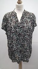 Brown and Teal Floral Short Sleeve Blouse size 20
