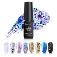 LILYCUTE 7ml Glitter Gel Polish Colorful Soak Off Nail Art Gel Varnish 8 Colors