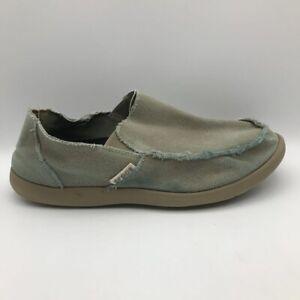 Crocs Mens Santa Cruz Loafer Shoes Beige Moc Toe Low Top Frayed Trim Slip Ons 11