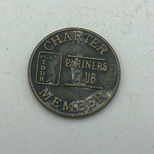 Vintage PGA TOUR Charter Member Partners Club Coin Token Gold Golfing  K3