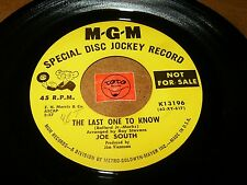 JOE SOUTH - THE LAST ONE TO KNOW - CONCRETE JUNGLE   / LISTEN - TEEN POPCORN