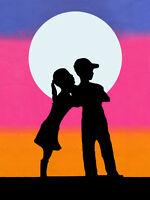 "BANKSY STREET ART CANVAS PRINT love hurts Kiss 8""X 12"" poster portrait"